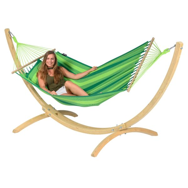 Wood & Relax Green Single Hammock with Stand