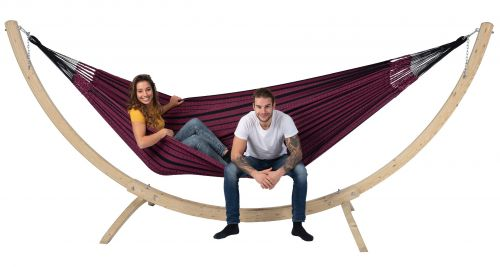 Wood & Black Edition Rose XXL Hammock with Stand