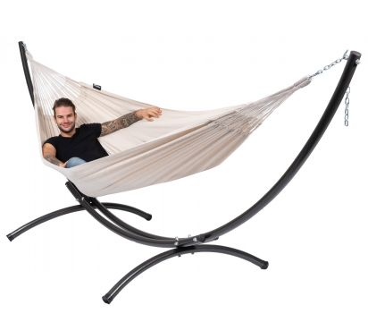 Arc & Comfort White Double Hammock with Stand