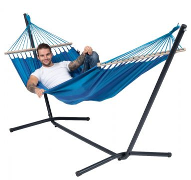 Easy & Relax Blue Single Hammock with Stand