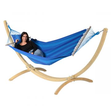 Wood & Relax Blue Single Hammock with Stand