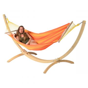 Wood & Relax Orange Single Hammock with Stand