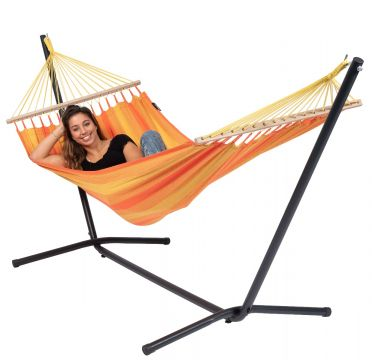 Easy & Relax Orange Single Hammock with Stand