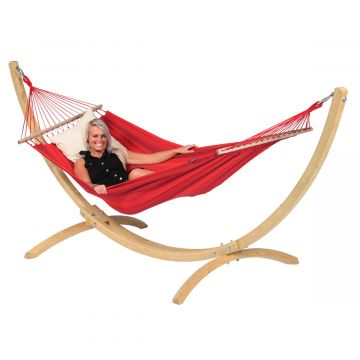 Wood & Relax Red Single Hammock with Stand