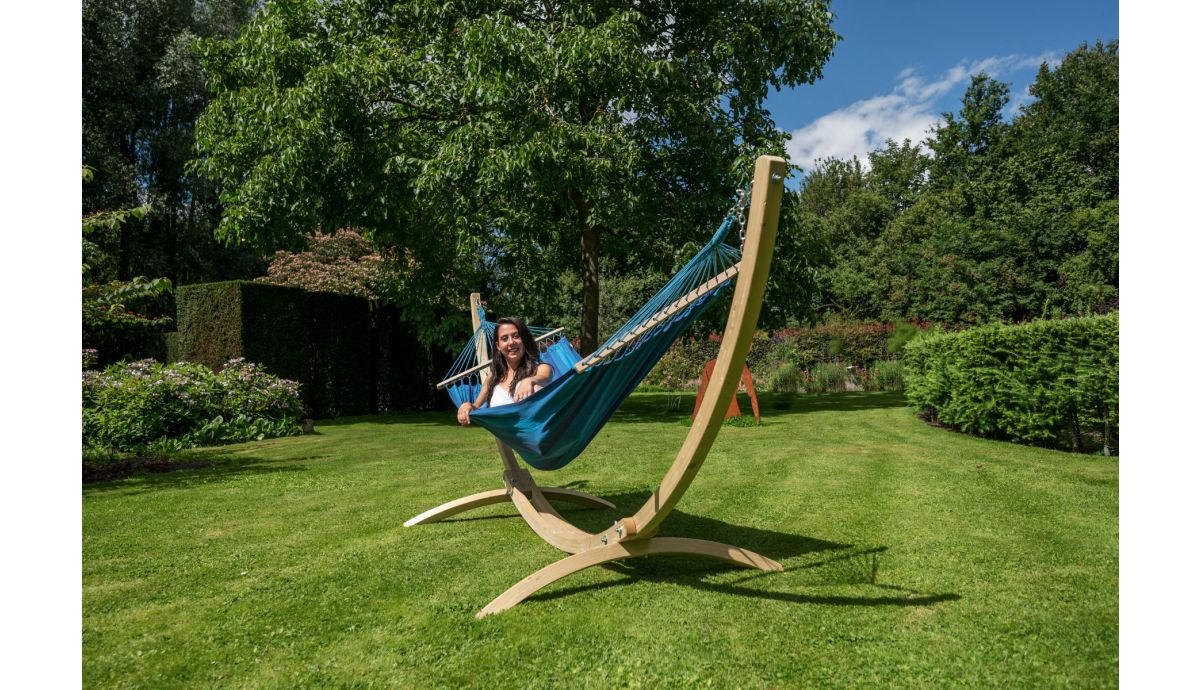 'Wood & Relax' Blue Single Hammock with Stand