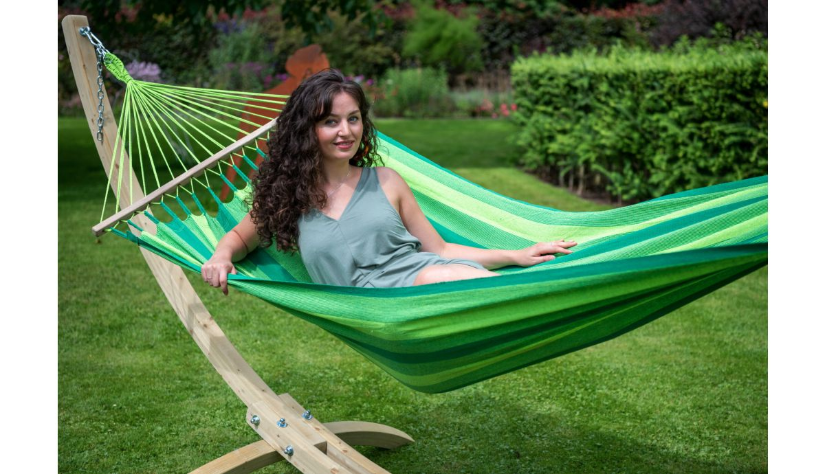 'Wood & Relax' Green Single Hammock with Stand