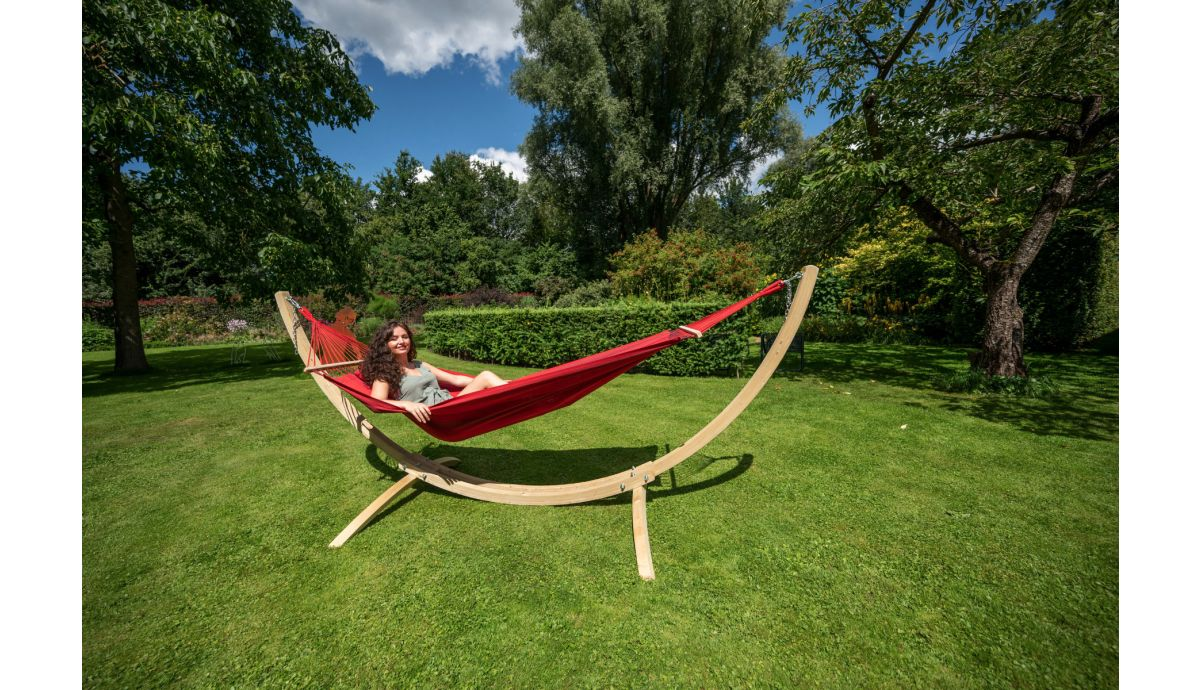 'Wood & Relax' Red Single Hammock with Stand